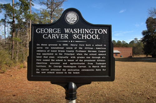 Bryan Neck GA Bryan County George Washington Carver School Funded by Henry Ford Historic Marker African Americans Picture Image Photo © Brian Brown Vanishing Coastal Georgia USA 2013