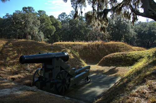 Fort McAllister GA Bryan County Civil War Fortification March to the Sea Picket Line Earthworks Confederate Canon Picture Image Photo © Brian Brown Vanishing Coastal Georgia USA 2013