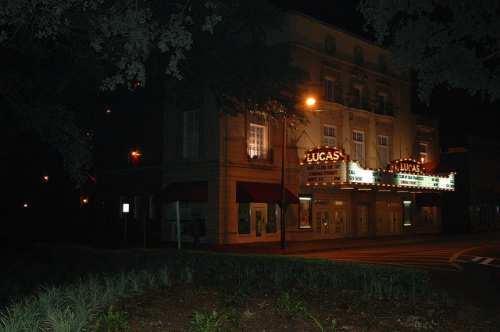 Historic Lucas Theatre 1921 Savannah GA Marquee Lights Restoration Saved by Preservationists Picture Image Photo © Brian Brown Vanishing Coastal Georgia USA 2013