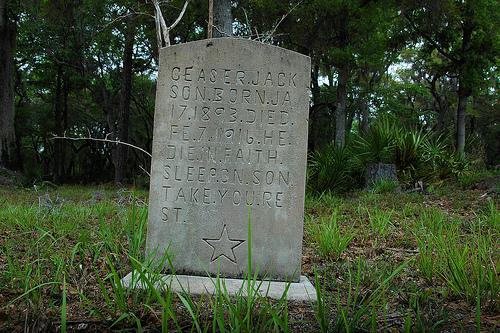 Ceaser Jackson Headston Star Motif Behavior Cemetery Sapelo Island GA Picture Image Photograph © Brian Brown Vanishing Coastal Georgia USA 2013