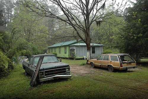 Hog Hammock GA Sapelo Island Abandoned Truck Station Wagon Clapboard House Ernest Walker's House Picture Image Photograph © Brian Brown Vanishing Coastal Georgia USA 2013