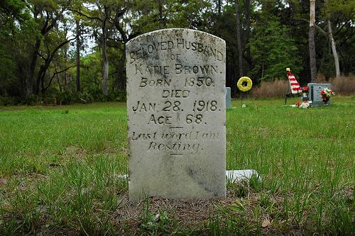 Husband of Katie Brown Headstone Ex Slave Behavior Cemetery Sapelo Island GA Picture Image Photograph © Brian Brown Vanishing Coastal Georgia USA 2013
