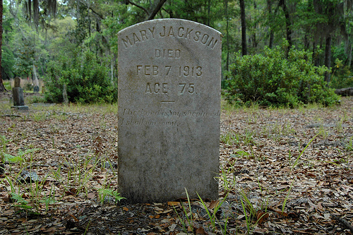 Mary Jackson Headstone Ex-Slave Behavior Cemetery Sapelo Island GA Picture Image Photograph © Brian Brown Vanishing Coastal Georgia USA 2013