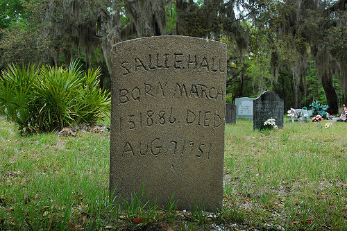 Sallie Hall Headstone Behavior Cemetery Sapelo Island GA Picture Image Photograph © Brian Brown Vanishing Coastal Georgia USA 2012