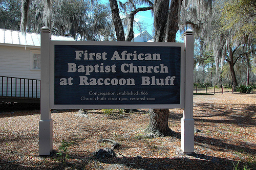 Sapelo Island GA First African Baptist Church at Raccoon Bluff National Register Landmark Sign Picture Image Photograph © Brian Brown Vanishing Coastal Georgia USA 2013