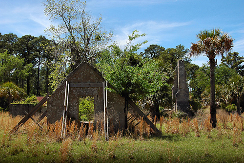Sapelo Island GA Tabby Ruins Chocolate Plantation Archaeology Plantation Chimney Outbuilding Picture Image Photograph © Brian Brown Vanishing Coastal Georgia USA 2013