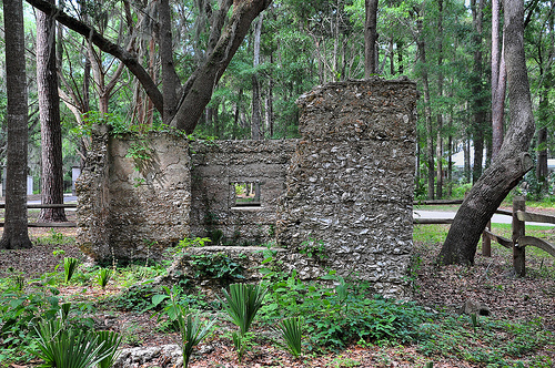 Ruins of Willam Carnochan Sugar Mill and Rum Distillery Tolomato Island Carnigan GA Tabby Architecture Built by Slaves Destroyed Hurricane 1824 Picture Image Photograph © Brian Brown Vanishing Coastal Georgia USA 2013