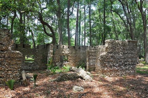 Ruins of Willam Carnochan Sugar Mill and Rum Distillery Tolomato Island Carnigan GA Tabby Architecture Built by Slaves Picture Image Photograph © Brian Brown Vanishing South Georgia USA 2013