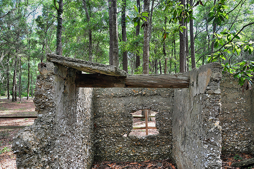 Ruins of Willam Carnochan Sugar Mill and Rum Distillery Tolomato Island Carnigan GA Tabby Architecture Built by Slaves Roof Beam Picture Image Photograph © Brian Brown Vanishing Coastal Georgia USA 2013