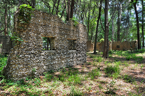 Ruins of Willam Carnochan Sugar Mill and Rum Distillery Tolomato Island Carnigan GA Tabby Architecture Built by Slaves Windows Wall Picture Image Photograph © Brian Brown Vanishing Coastal Georgia USA 2013