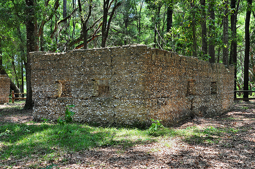 Ruins of Willam Carnochan Sugar Mill and Rum Distillery Tolomato Island Carnigan GA Tabby Walls Early Building Picture Image Photograph © Brian Brown Vanishing Coastal Georgia USA 2013
