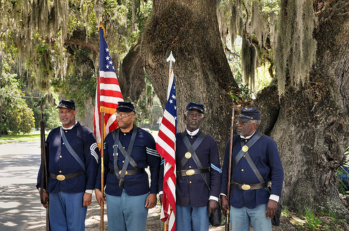 150th Anniversary of the Burning of Darien GA Civil War Sesquicentennial 54th Massachusetts Volunteer Infantry Black Union Reenactors Picture Image Photograph © Brian Brown Vanishing Coastal Georgia USA 2013