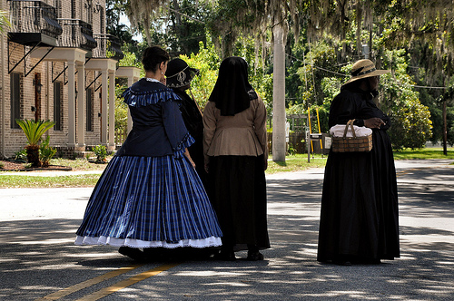 150th Anniversary of the Burning of Darien GA Civil War Sesquicentennial Ladies in Period Dress Waiting for Parade to Start Picture Image Photograph © Brian Brown Vanishing Coastal Georgia USA 2013