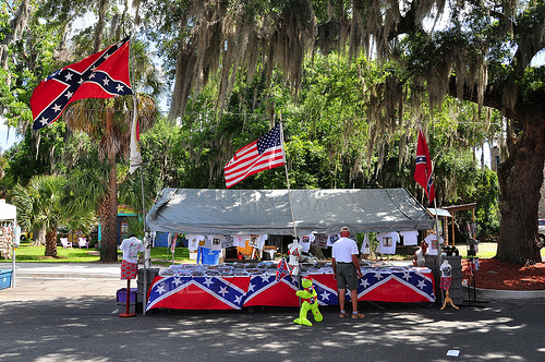150th Anniversary of the Burning of Darien GA Civil War Sesquicentennial Southern Heritage Vendors Confederate Flags Kitsch Picture Image Photograph © Brian Brown Vanishing Coastal Georgia USA 2013