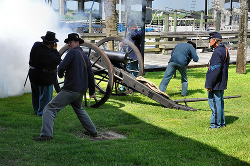 150th Anniversary of the Burning of Darien GA Civil War Sesquicentennial Union Reenactors Firing Canon Crew from Fort McAllister Picture Image Photograph © Brian Brown Vanishing Coastal Georgia USA 2013