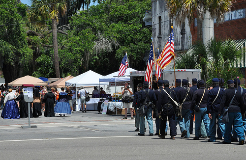 150th Anniversary of the Burning of Darien GA Civil War Sesquicentennial Union Reenactors Parading down Broad Street Downtown Picture Image Photograph © Brian Brown Vanishing Coastal Georgia USA 2013