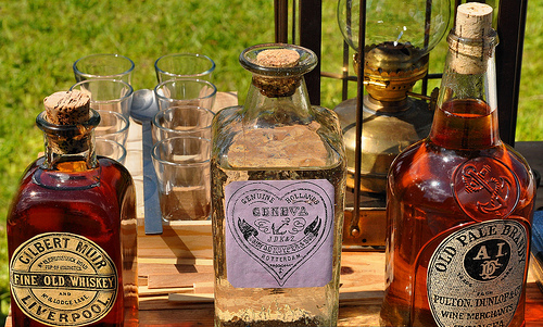150th Anniversary of the Burning of Darien GA Civil War Sesquicentennial Whiskeys Liquors Alcohol in Antique Style Bottles Picture Image Photograph © Brian Brown Vanishing Coastal Georgia USA 2013