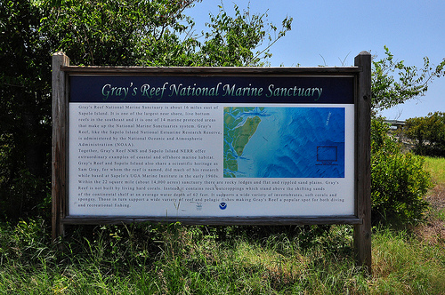 Gray's Reef National Marine Sanctuary Sign at Nanny Goat Beach Sapelo Island GA Picture Image Photograph © Brian Brown Vanishing Coastal Georgia USA 2013