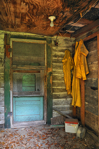 Hog Hammock GA Sapelo Island Entryway with Fishing Raincoats Cooler Haint Blue Door Green Trim Picture Image Photograph © Brian Brown Vanishing Coastal Georgia USA 2013