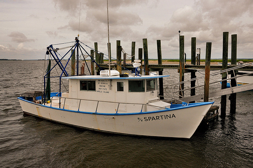 University of Georgia Marine Institute Boat Spartina at Sapelo Marsh Dock Picture Image Photograph © Brian Brown Vanishing Coastal Georgia USA 2013