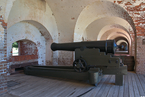 Fort Pulaski National Monument Cockspur Island GA Savannah Area Antebellum Arches Casemate Gun Cannon Third System Fortress Picture Image Photograph Copyright © Brian Brown Vanishing Coastal Georgia USA 2013