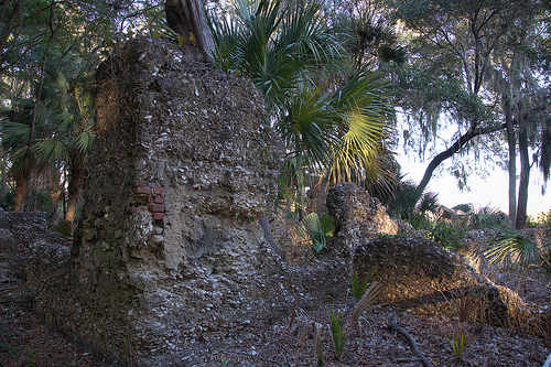 Tolomato Island GA William Carnochan Sugar Mill Ruins Tabby Walls Endangered Landmark Photograph Copyright Brian Brown Vanishing Coastal Georgia USA 2013