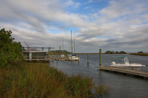 North River McIntosh County GA Hird Island Area Private Sailboats Watercraft Dock Blue N Hall Marina Photograph Copyright Brian Brown Vanishing Coastal Georgia USA 2013