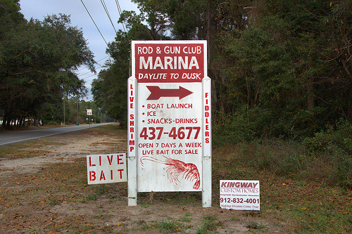 Rod & Gun Club Marina Ridgeville GA McIntosh Couny Live Bait Shrimp Sign Photograph Copyright Brian Brown Vanishing Coastal Georgia USA 2013