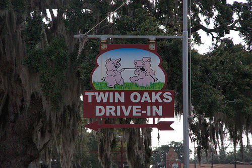 Twin Oaks Drive-In Restaurant Brunswick GA Funny Pigs Sign Landmark Photograph Copyright Brian Brown Vanishing Coastal Georgia USA 2013