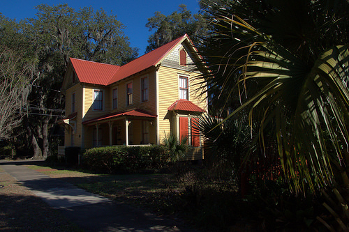 Folk Victorian Architecture Restored House Old Town Brunswick GA Photograph Copyright Brian Brown Vanishing Coastal Georgia USA 2014