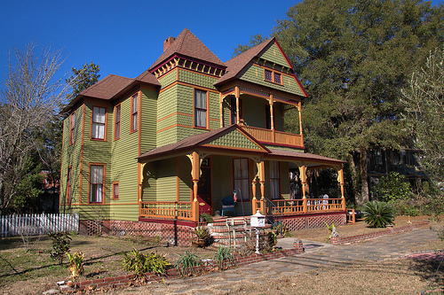 Folk Victorian Architecture Restored House Painted Lady Brunswick GA Photograph Copyright Brian Brown Vanishing Coastal Georgia USA 2014