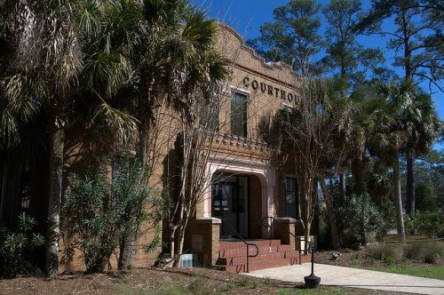Camden County Courthouse Woodbine GA One of Two Gothic Revival in Georgia Palm Tree Photograph Copyright Brian Brown Vanishing Coastal Georgia USA 2014