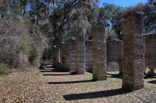 Tabby Sugar Works and Arrowroot Starch Factory of John Houstoun McIntosh Early Tabby Structure Camden County GA Columns Posts Photograph Copyright Brian Brown Vanishing Coastal Georgia USA 2014