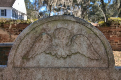 Midway Congregational Church Cemetery Liberty County GA Cherub Tympanum of James Osgood 1793 Photograph Copyright Brian Brown Vanishing Coastal Georgia USA 2015