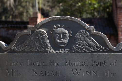 Midway Congregational Church Cemetery Liberty County GA Winged Death Tympanum of Miss Sarah Winn 1767 Photograph Copyright Brian Brown Vanishing Coastal Georgia USA 2015
