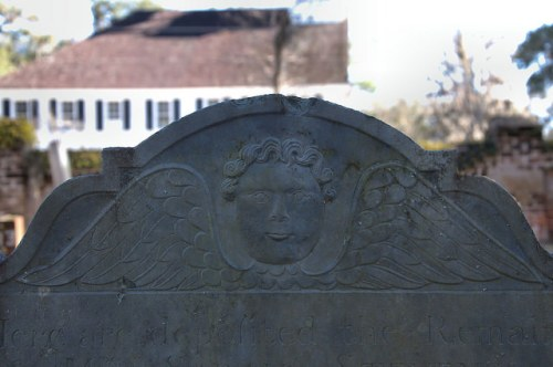 Midway Congregational Church Cemetery Liberty County GA Winged Death Tympanum of Sarah Stevens 1767 Photograph Copyright Brian Brown Vanishing Coastal Georgia USA 2015