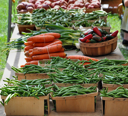 Forsyth Farmers Market Savannah GA Organic Green Beans Carrots Onions Potatoes Photograph Copyright Brian Brown Vanishing Coastal Georgia USA 2015