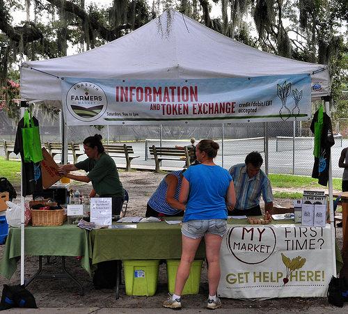 Forsyth Farmers Market Savannah GA Token Exchange Information Booth Photogaph Copyright Brian Brown Vanishing Coastal Georgia USA 2015