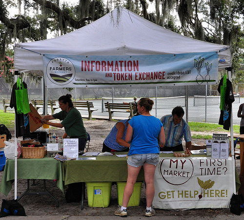 Forsyth Farmers Market Savannah GA Token Exchange Information Booth Photogaph Copyright Brian Brown Vanishing Coastal Georgia USA 2015