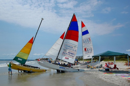 St Simons Island GA Hobie Cats Catamarans Hambys By Air Package Crab Trap East Beach Photo Copyright Brian Brown Vanishing Coastal Georgia USA 2015