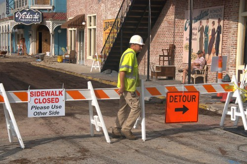 Live By Night Movie Ben Affleck Brunswick GA Construction of Set on Newcastle Street Photograph Copyright Brian Brown Vanishing Coastal Georgia USA 2015