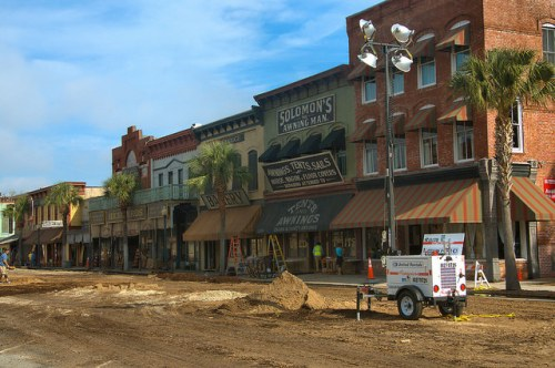 Live By Night Movie Ben Affleck Set Construction Transformation of Newcastle Street Into 1930s Ybor City Photograph Copyright Brian Brown Vanishing Coastal Georgia USA 2015