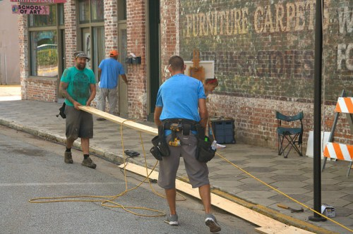 Live By Night Movie Brunswick GA Set Construction Monck Street Photograph Copyright Brian Brown Vanishing South Georgia USA 2015
