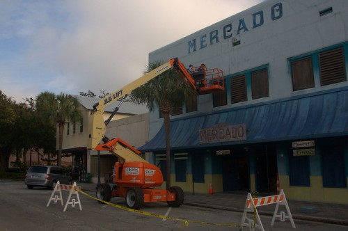 Live By Night Movie Brunswick GA Transforming into 1930s Ybor City Tampa Mercado Sign Being Painted Photograph Copyright Brian Brown Vanishing Coastal Georgia USA 2015
