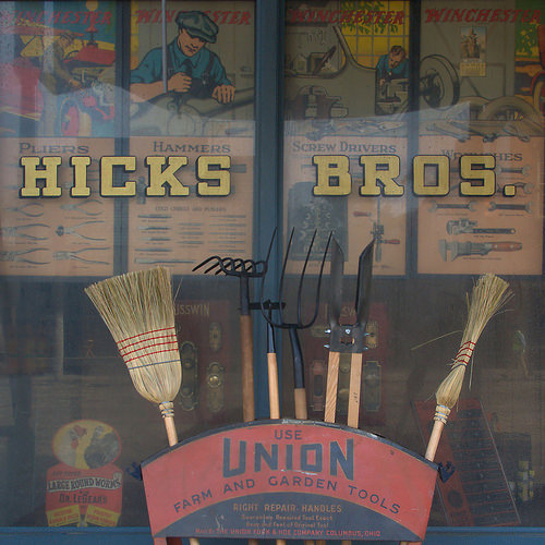 Live By Night Movie Set Brunswick GA Detail of Hicks Bros Hardware Store Ybor City Re Creation Tools Brooms Photograph Copyright Brian Brown Vanishing Coastal Georgia USA 2015