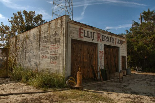 Live By Night Movie Set Construction Monck Street Brunswick GA Ellis Repair Shop Photograph Copyright Brian Brown Vanishing Coastal Georgia USA 2015
