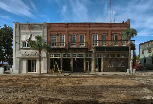 Live By Night Set Newcastle Street Brunswick Becomes Ybor City 1930s Tampa Savings Bank Ybor Iron Works Facades Photograph Copyright Brian Brown Vanishing Coastal Georgia USA 2015