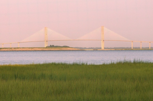 Sidney Lanier Bridge Brunswick GA From Jekyll Island Photograph Copyright Brian Brown Vanishing Coastal Georgia USA 2015
