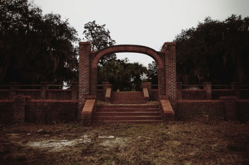 Sunbury Plantation Entrance Arch Photograph Copyright Brian Brown Vanishing Coastal Georgia USA 2016