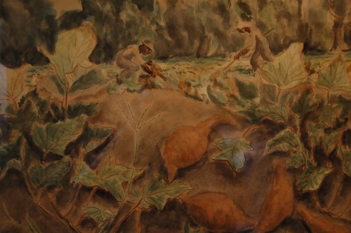 sweet-potatoes-watercolor-painting-by-william-haynes-jr-southern-folklife-agriculture-african-american-picture-image-photo-copyright-brian-brown-vanishing-coastal-georgia-usa-2011
